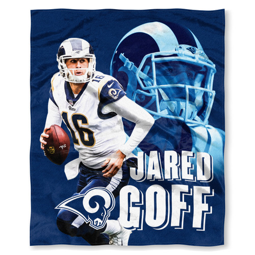 """NFL Jared Goff Los Angeles Rams Silk Touch Throw Blanket Size 50"""" x 60"""""""