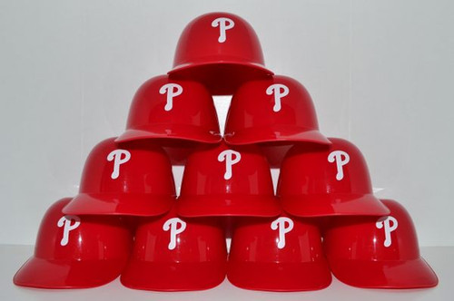 Philadelphia Phillies MLB 8oz Snack Size / Ice Cream Mini Baseball Helmets - Quantity 10