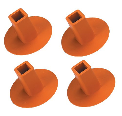 Rubber Ground Receptacle Anchor Base Plugs - Orange (4-pack)
