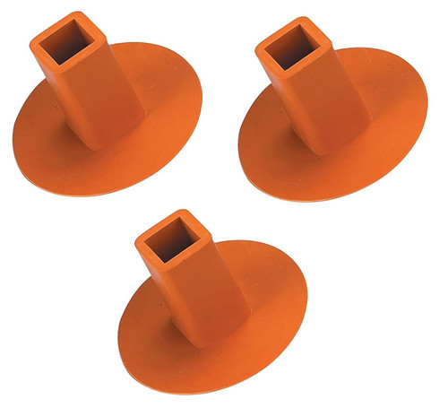 Rubber Ground Receptacle Anchor Base Plugs - Orange (3-pack)