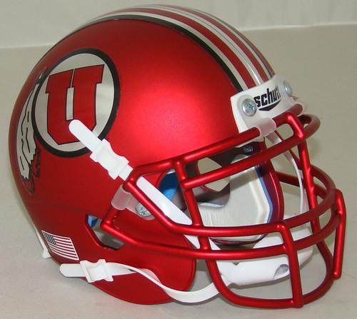 Utah Utes Satin Red Alternate 16 Schutt Mini Authentic Football Helmet
