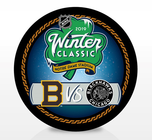 2019 Winter Classic Notre Dame Stadium NHL Dueling Inglasco Souvenir Puck - Boston Bruins vs. Chicago Blackhawks
