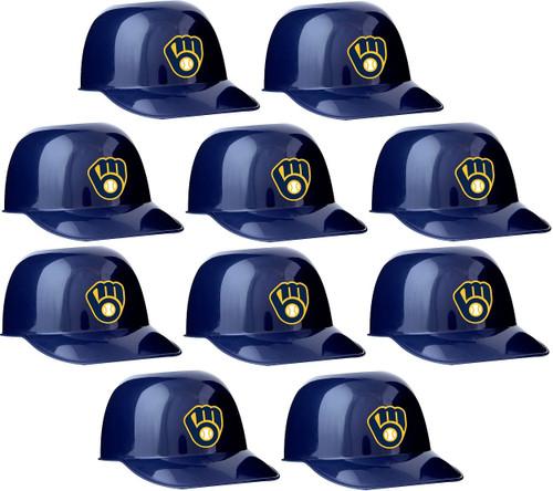 Milwaukee Brewers MLB 8oz Snack Size / Ice Cream Mini Baseball Helmets - Quantity 10