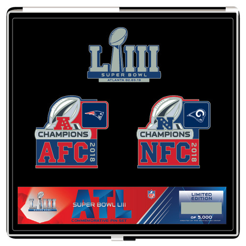 Super Bowl LIII 53 New England Patriots vs. Los Angeles Rams Dueling Pin Set - Limited to only 5,000 made
