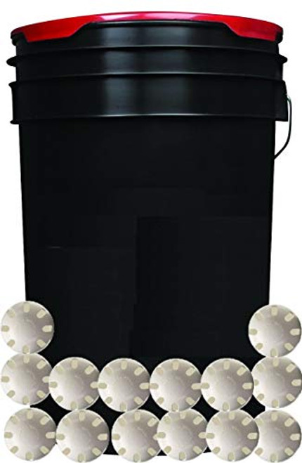 Black 6-Gallon Padded Ball Bucket with 30 Wiffle Balls for Practice