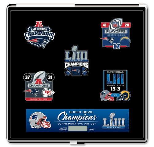 New England Patriots Super Bowl LIII Champions Commemorative Pin Set - Limited Edition