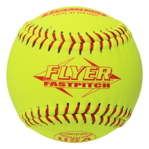 Dozen 11 Inch Leather Cover Fastpitch Softballs, Polyurethane Core, USA Stamped, Model 11FPL 47 375 USA