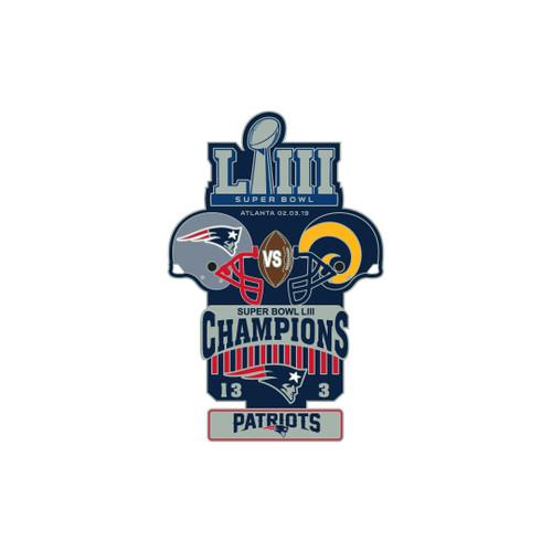 Super Bowl LIII 53 Commemorative Lapel Pin - New England Patriots vs. Los Angeles Rams