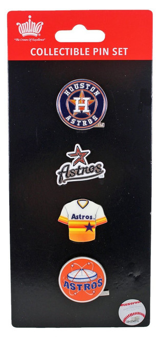 Houston Astros Logo MLB Baseball Evolution 4 Piece Lapel Pin Set
