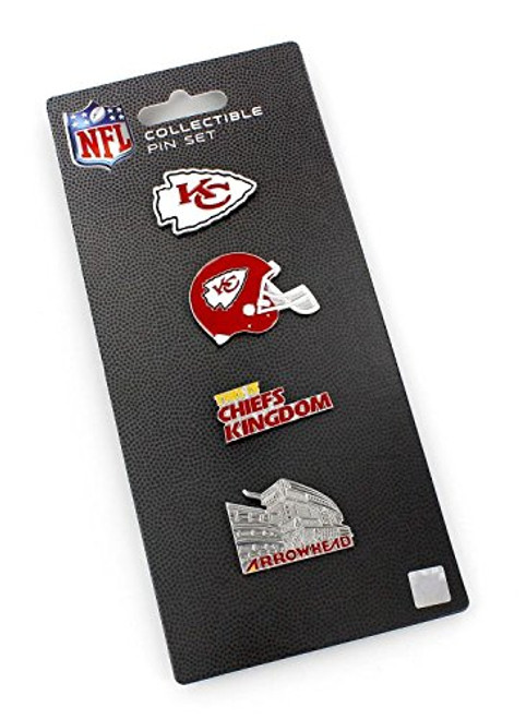 Kansas City Chiefs Logo NFL Football Evolution 4 Piece Lapel Pin Set