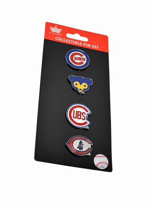 Chicago Cubs Logo MLB Baseball Evolution 4 Piece Lapel Pin Set
