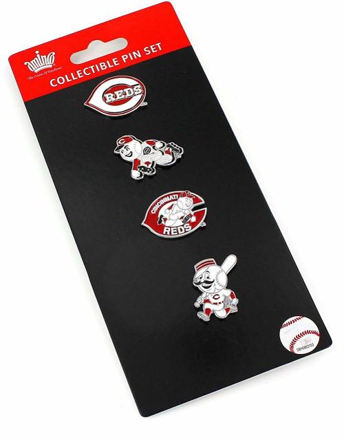 Cincinnati Reds Logo MLB Baseball Evolution 4 Piece Lapel Pin Set