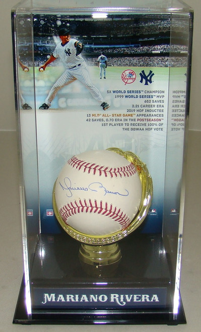 Autographed New York Yankees Mariano Rivera Signed Baseball in Hall of Fame Display