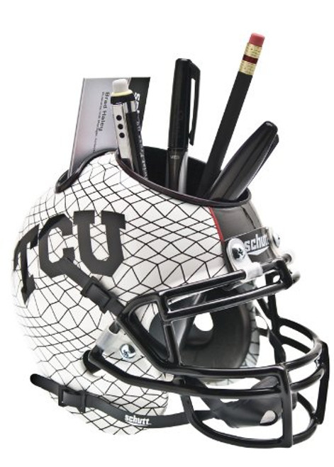 TCU Horned Frogs Alternate White AquaTech Mini Helmet Desk Caddy by Schutt