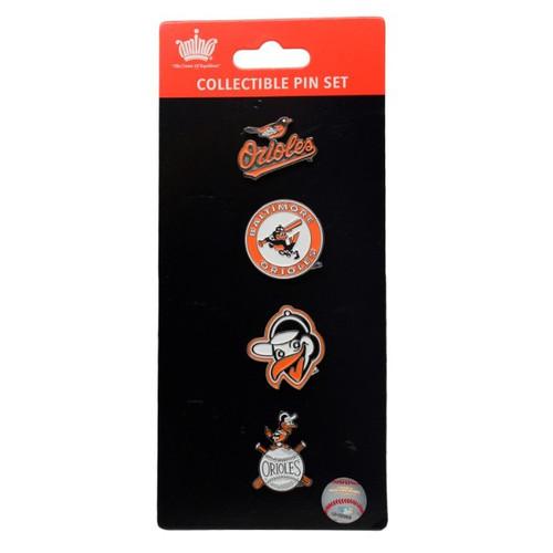 Baltimore Orioles Logo MLB Baseball Evolution 4 Piece Lapel Pin Set