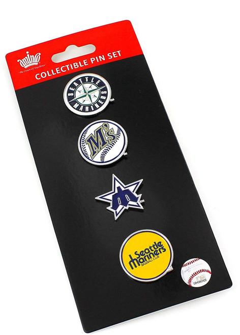Seattle Mariners Logo MLB Baseball Evolution 4 Piece Lapel Pin Set