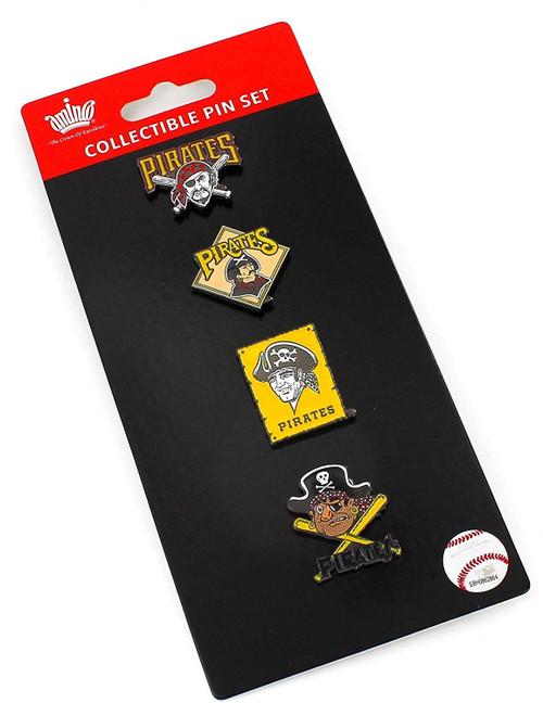 Pittsburgh Pirates Logo MLB Baseball Evolution 4 Piece Lapel Pin Set