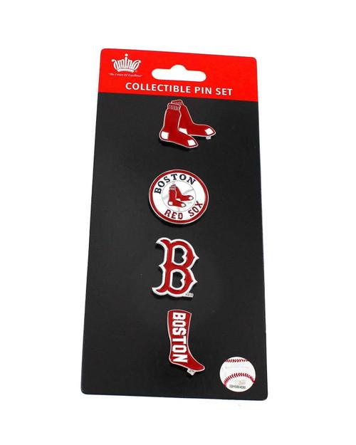 Boston Red Sox Logo MLB Baseball Evolution 4 Piece Lapel Pin Set