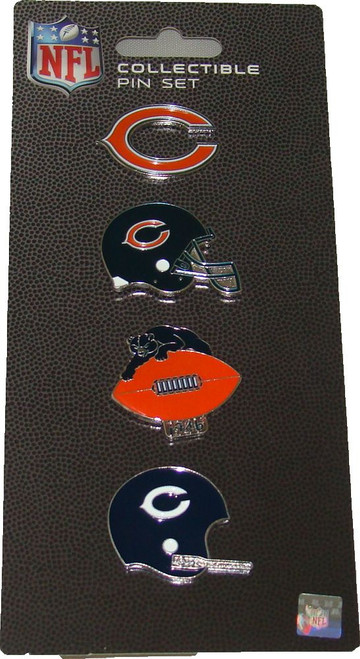 Chicago Bears Logo NFL Football Evolution 4 Piece Lapel Pin Set
