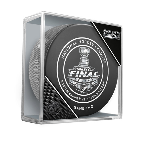 2019 Stanley Cup Finals Game 2 (Two) Boston Bruins vs. St. Louis Blues Official Game Hockey Puck Cubed