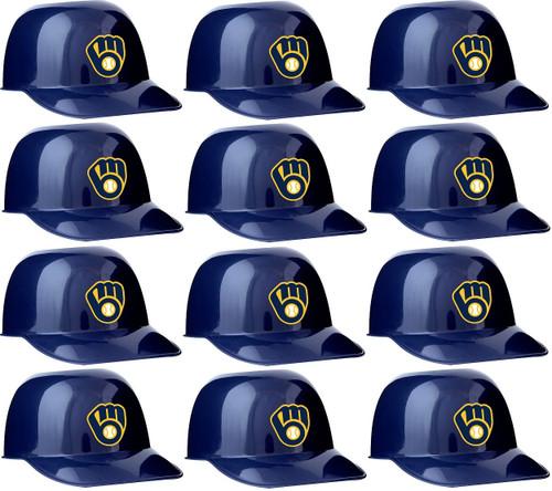 Milwaukee Brewers MLB 8oz Snack Size / Ice Cream Mini Baseball Helmets - Quantity 12