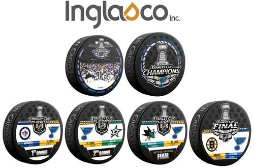 2019 St. Louis Blues NHL Stanley Cup Champions Inglasco (6) Six Souvenir Puck Set