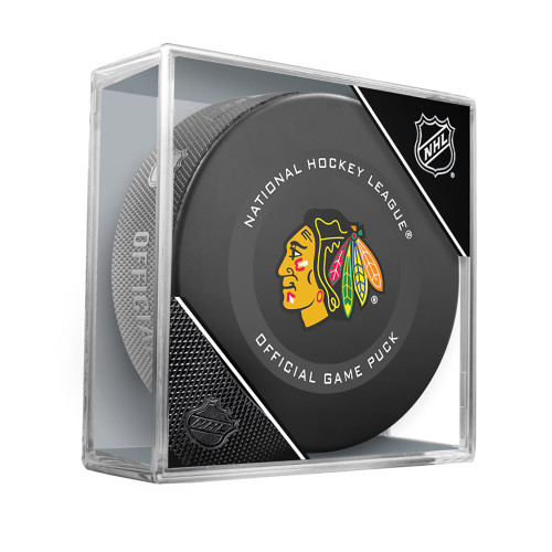 Chicago Blackhawks Inglasco Official NHL Game Puck in Cube - New 2019-2020 Version