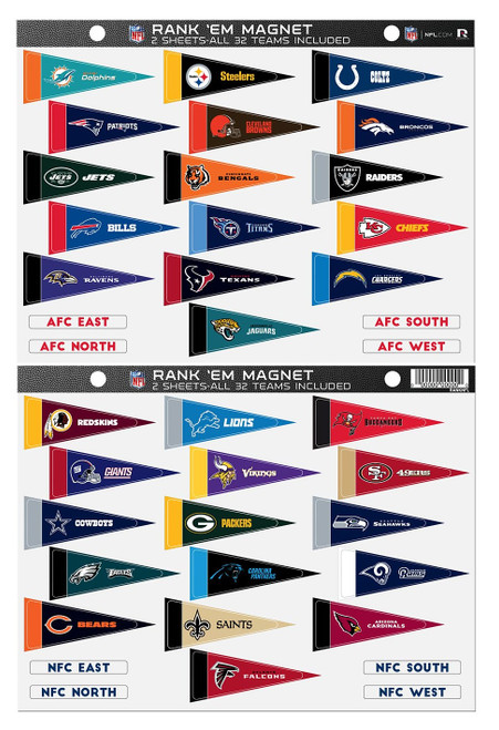 NFL Rank 'Em All 32 Teams Mini Pennant Magnet Standings Set Sheet