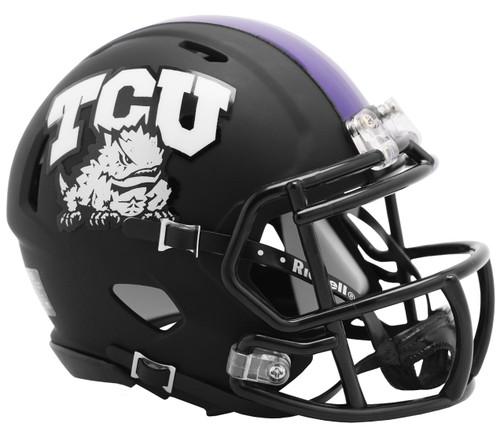 TCU Texas Christian Horned Frogs 2019 Alternate Matte Black NCAA Revolution SPEED Mini Football Helmet