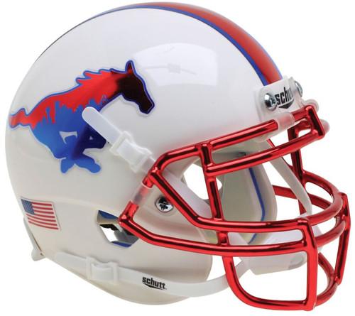 South Methodist SMU Mustangs Alternate Chrome Schutt Mini Authentic Football Helmet