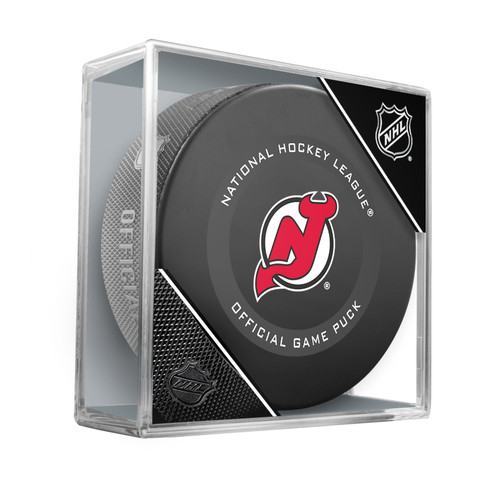 New Jersey Devils Inglasco Official NHL Game Puck in Cube - New 2019-2020 Version
