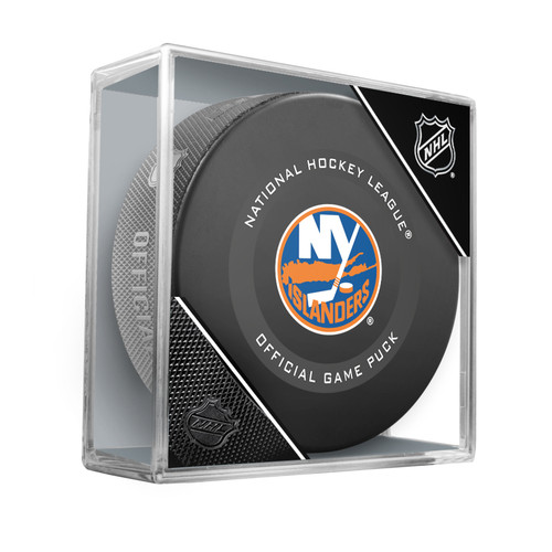 New York Islanders Inglasco Official NHL Game Puck in Cube - New 2019-2020 Version