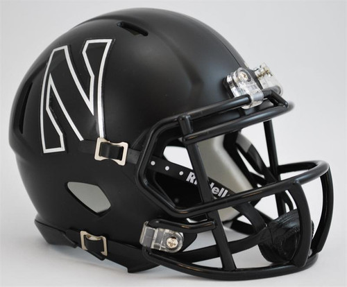 Northwestern Wildcats Alternate Flat Black Revolution SPEED Mini Helmet