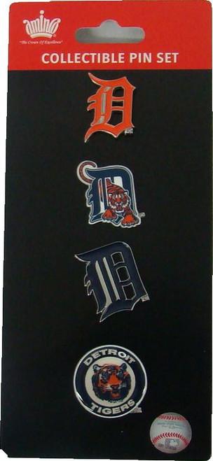 Detroit Tigers Logo MLB Baseball Evolution 4 Piece Lapel Pin Set
