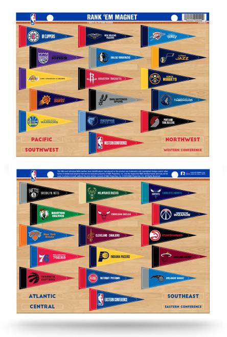 NBA Rank 'Em All 30 Teams Mini Pennant Magnet Standings Set Sheet