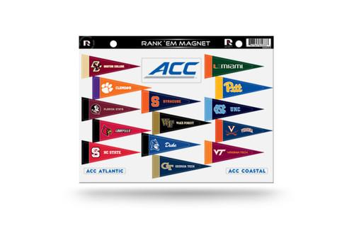 NCAA ACC Rank 'Em All Atlantic Coast Conference Teams Mini Pennant Magnet Standings Set Sheet