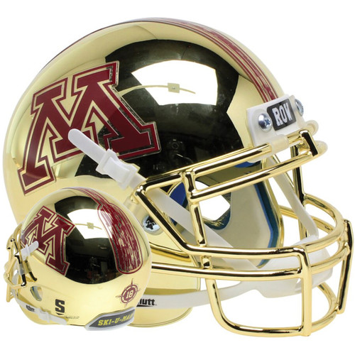 Minnesota Golden Gophers Gold Chrome Schutt Full Size Replica XP Football Helmet