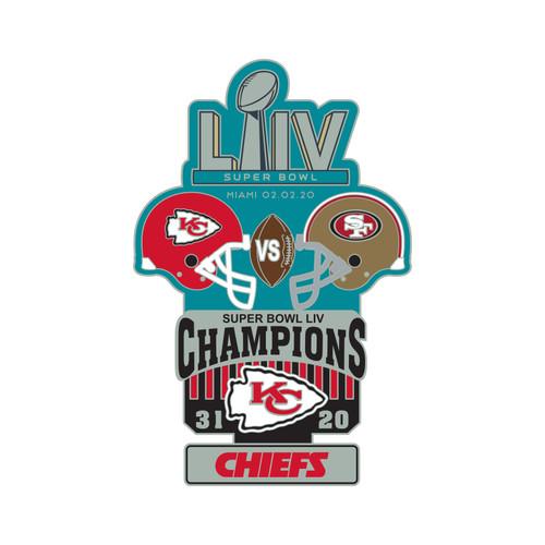 Super Bowl LIV 54 Commemorative Historical Lapel Pin - Kansas City Chiefs vs. San Francisco 49ers