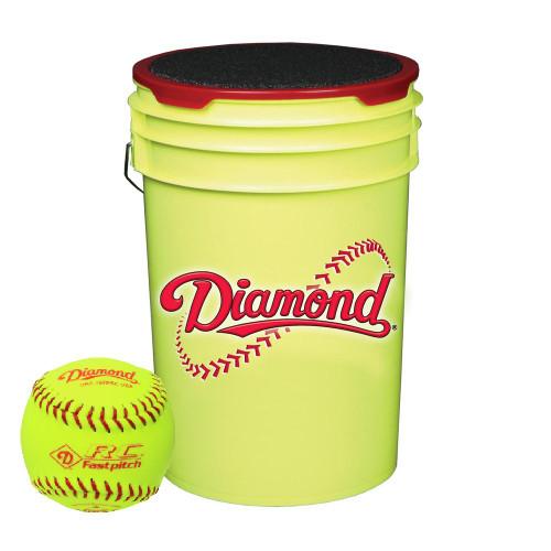 Diamond 18 Softballs Bucket Combo with 10-inch Softballs (includes 18 DRC-10 FP USA Softballs) with Yellow Bucket