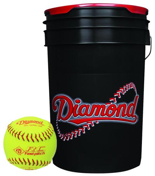 Diamond 18 Softballs Bucket Combo with 10-inch Softballs (includes 18 DRC-10 FP USA Softballs) with Black Bucket