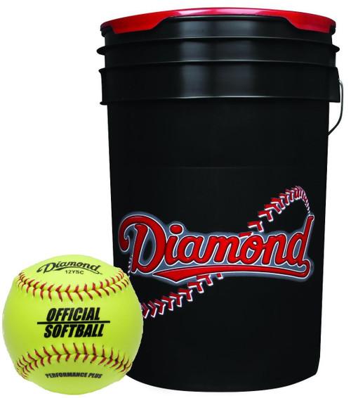 Diamond 12 inch Softball Black Bucket Combo with 18 12YSC Softballs