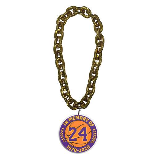 NBA in Memory of Kobe Bryant #24 Los Angeles Lakers 10 Inch Fan Gold Chain 3D Foam Magnet Necklace