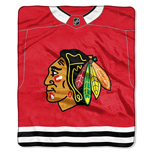 "Chicago Blackhawks NHL ""Jersey"" Plush Raschel Fleece Throw Blanket 50"" x 60"""