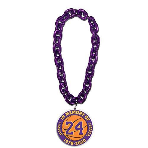 NBA in Memory of Kobe Bryant Los Angeles Lakers 10 Inch Fan Purple Chain 3D Foam Magnet Necklace
