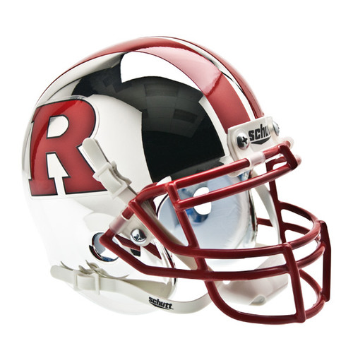 Rutgers Scarlet Knights Chrome with Red R & Stripe Schutt Mini Authentic Helmet