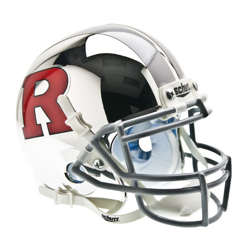 Rutgers Scarlet Knights Chrome with Silver Stripe Schutt Mini Authentic Helmet
