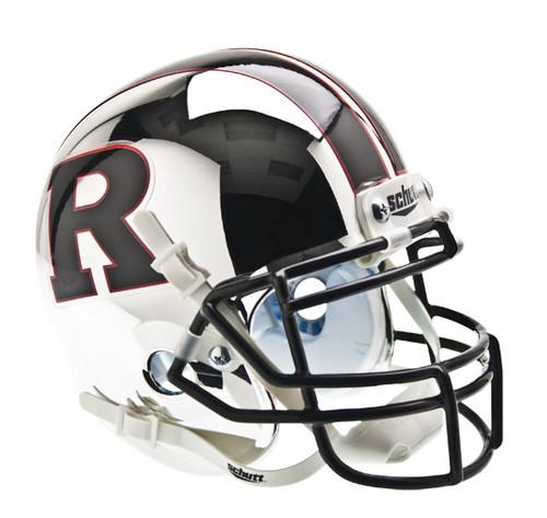Rutgers Scarlet Knights Chrome with Black R & Stripe Schutt Mini Authentic Helmet