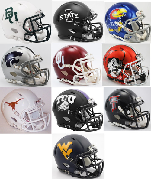 All 10 NCAA BIG 12 Twelve Conference Current Riddell SPEED Revolution Mini Football Helmets