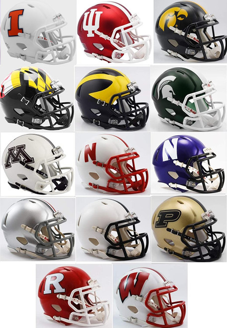 All 14 NCAA BIG Ten 10 Conference Current Riddell SPEED Revolution Mini Football Helmets