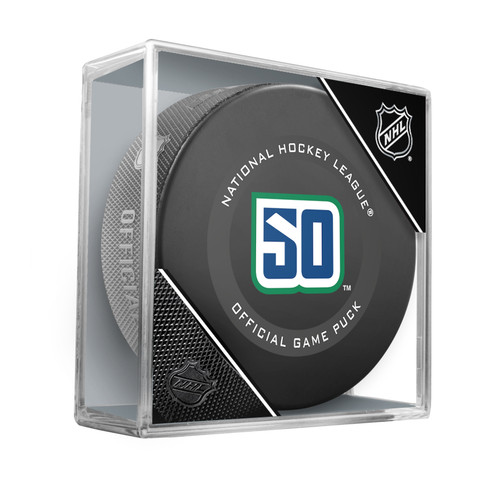 Vancouver Canucks 50th Anniversary 2019-20 Inglasco Official NHL Hockey Game Puck in Cube